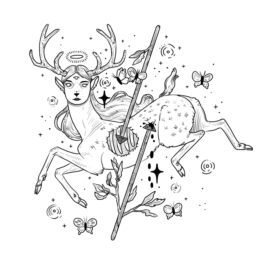 Hermaphrodite Deer with Arrow and Exposed Ribs